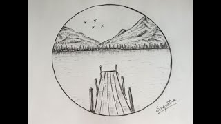 circle drawing easy nature landscape scenery draw