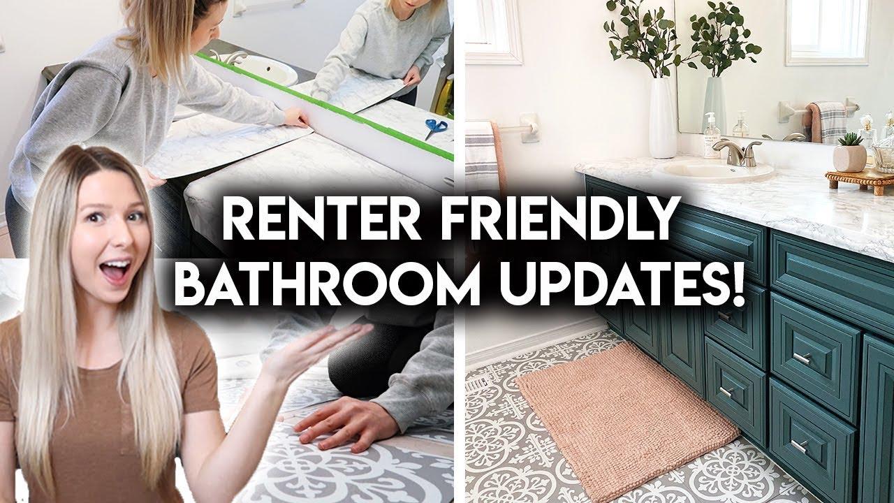 bathroom makeover 1 month update peel stick tiles countertop