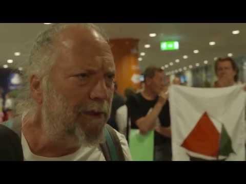Ship to Gaza prisoners arrive in Stockholm,Arlanda 5/7/15
