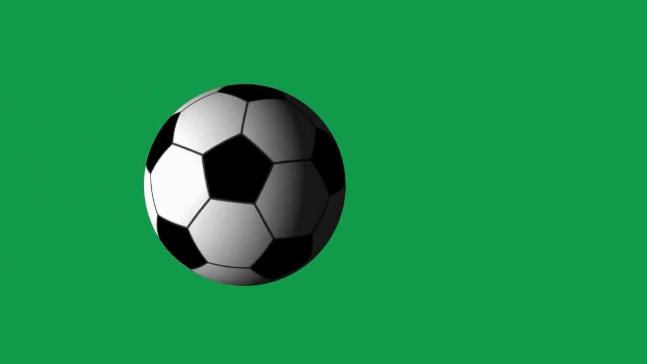 soccer ball spinning animation on green screen