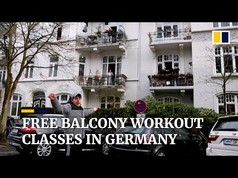 Fitness trainer in Germany leads free balcony exercises to fight social distancing blues