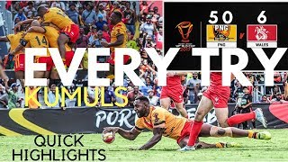 PNG KUMULS VS WALES (EVERY TRY RLWC 2017)