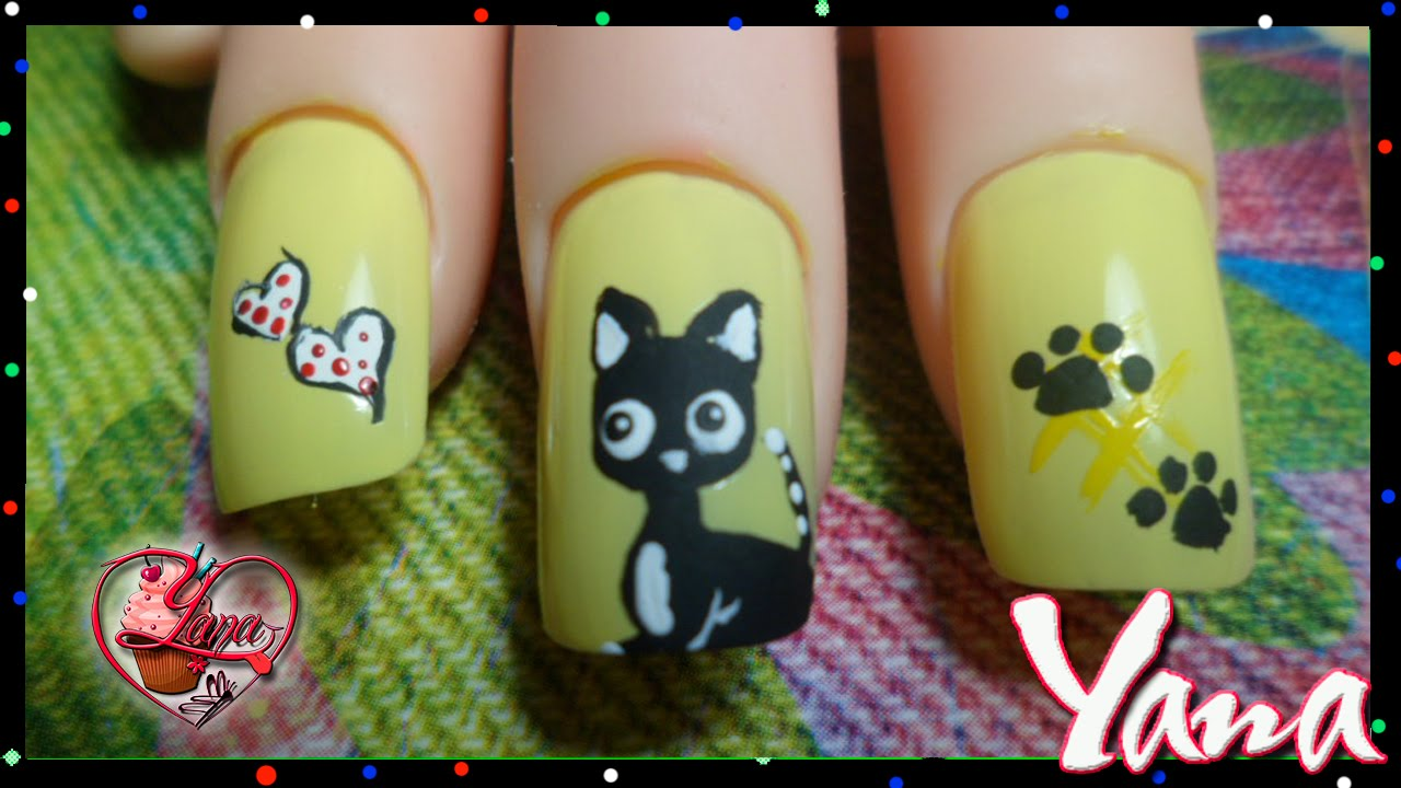 Decoraciones de Uñas Gato - Yana - Nail Art - YouTube