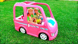 Vlad and Nikita ride on doll car and have new Adventures