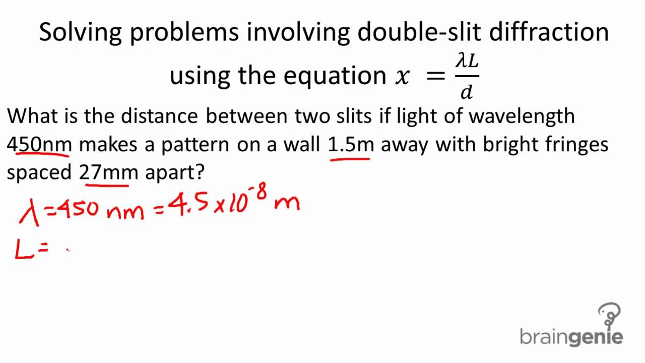 wavelength and double slit diffraction First we'll consider the case of double slit interference, in which a parallel beam of incident monochromatic (containing a specific wavelength) light from the left strikes a screen with two slits, s 1 and s 2, as below.