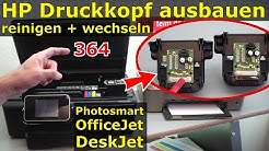 HP Druckkopf 364 ausbauen + reinigen + wechseln   364-Patronen bei Photosmart OfficeJet DeskJet