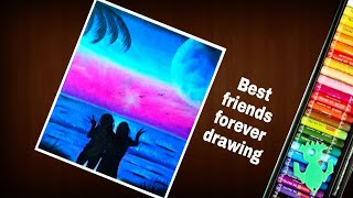 Best friends forever drawing part-2   for beginners   Step by step    with doms oil pastel