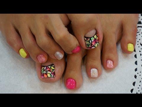 How To Art Pedicure Gel Nail Art Korea Nail Shop Youtube