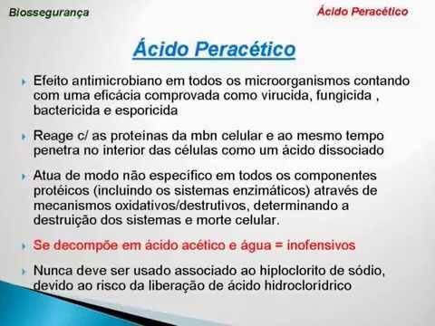 Видео Utilização do ácido peracético para desinfecção