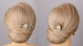 Low bun hairstyle tutorial for wedding updo bridal hairstyle