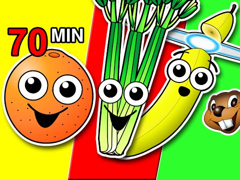 Fruit & Veggies Songs Collection | Learn Fruit + Vegetable Names, Colors, Colours | Nursery Rhymes
