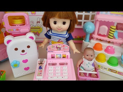 Baby doll mart cash register and refrigerator toys baby doli play
