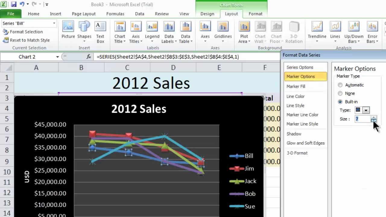 Excel 2010 Tutorial 13 - Line Chart