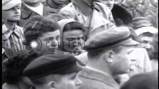 US Army Jewish chaplains conduct services in the Dachau concentration camp in Ger...HD Stock Footage