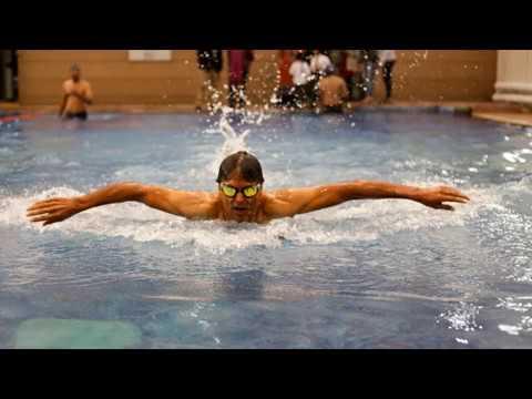 Milind Soman At Fitso Swimming Pool Gurgaon Youtube
