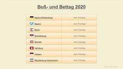 Buß- und Bettag 2020 - Datum - Feiertage Deutschland 2020