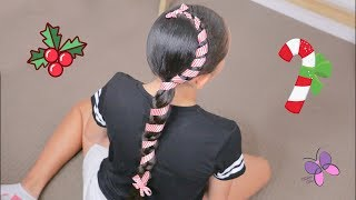 Candy Cane Hairstyle for Christmas