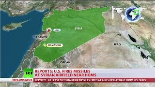 US fires missiles at Syrian military base near Homs in response to 'Assad's chem attack'