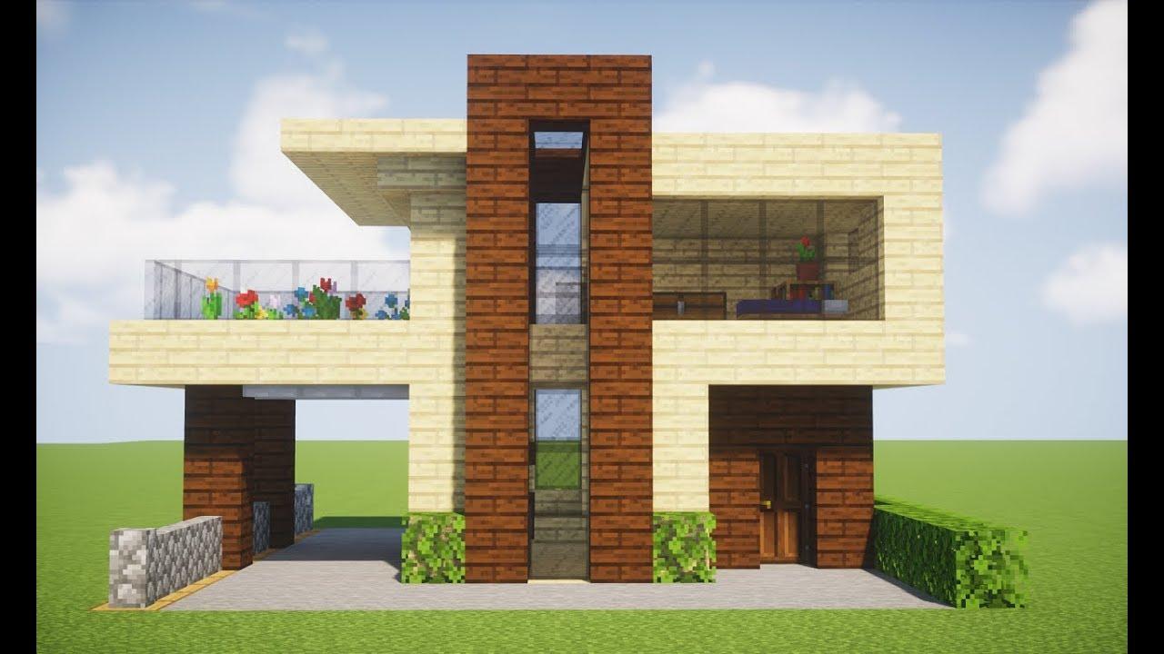 Minecraft tutorial casa moderna pequena de madeira youtube for Casa moderna y pequena en minecraft