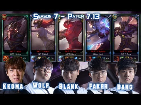 Faker, Bang, Blank, Wolf & Kkoma Playing in the same TEAM - Patch 7.13 KR