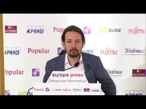 Pablo Iglesias en los desayunos informativos de Europa Press