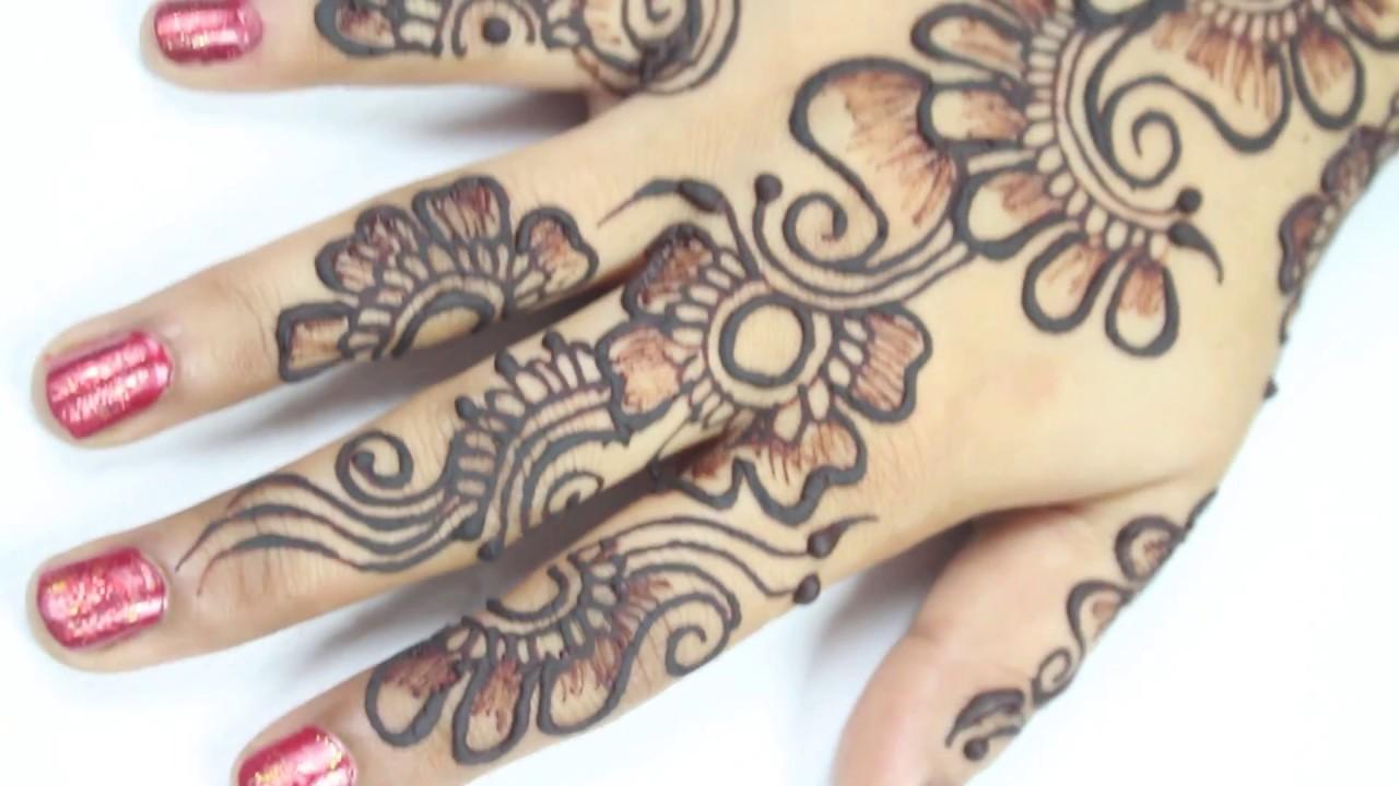 How To Draw Arabic Henna Mehndi Design / Diy Arabic Flower ...