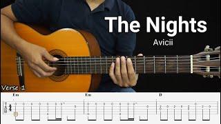The Nights - Avicii - Fingerstyle Guitar Tutorial TAB + Chords + Lyrics