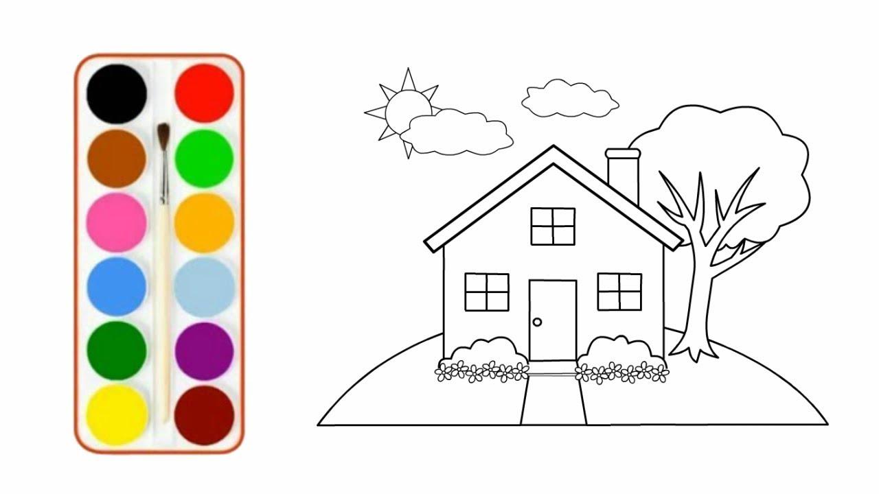 KEREN Menggambar Dan Mewarnai Rumah Halaman Mewarnai