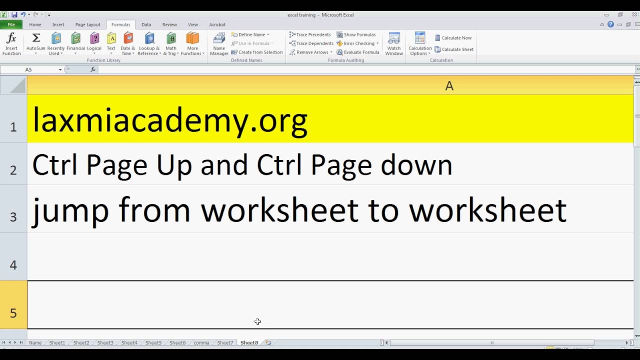 Excel shortcut to jump from worksheet to worksheet - YouTube