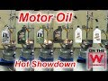 Comparing heated 5-W30 synthetic motor oils from Mobil 1 and Castrol to 0W-30 full synthetic motor oils from the same companies, and standard Castrol 5W-30 ...