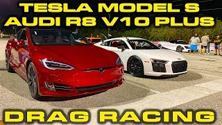 Tesla Model S Performance vs Audi R8 V10 Plus Drag Racing 1/4 Mile