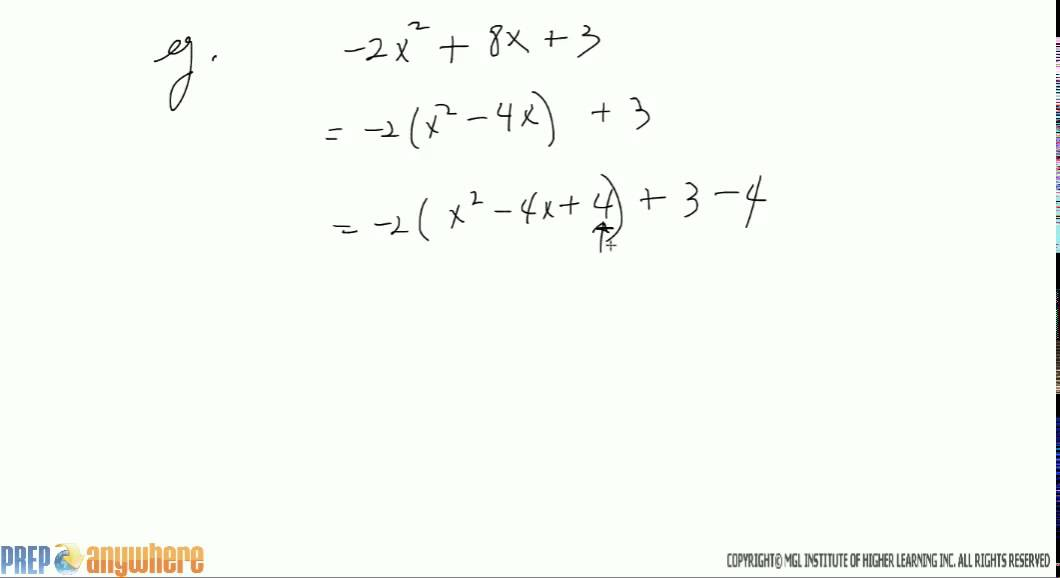 5 completing the square of the form ax2 bx c form where a is completing the square of the form ax2 bx c form where a is negative ex1 ccuart Choice Image