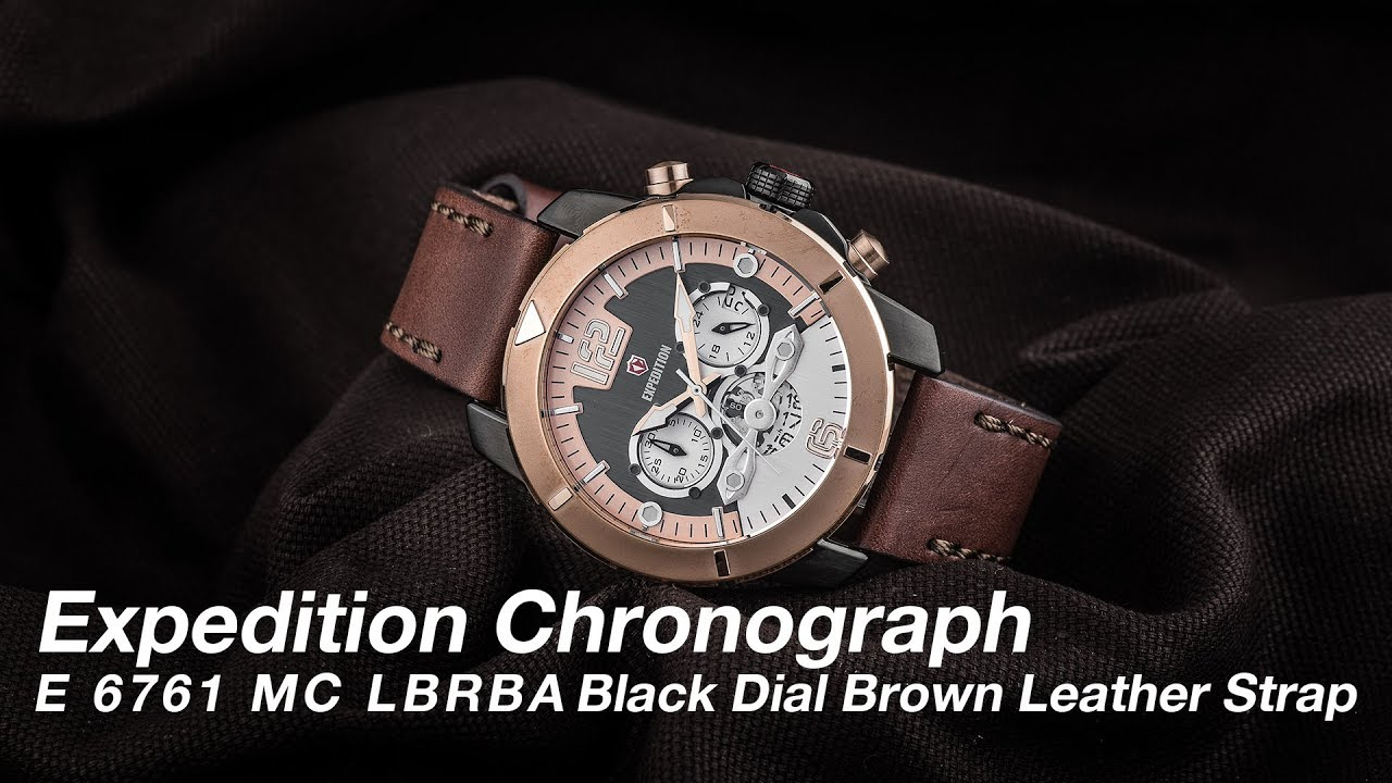 Jam Tangan Expedition Man Black Dial Leather Strap Daftar E 6381 Mc Silver Cream Brown 6761 Lbrba Chronograph Men