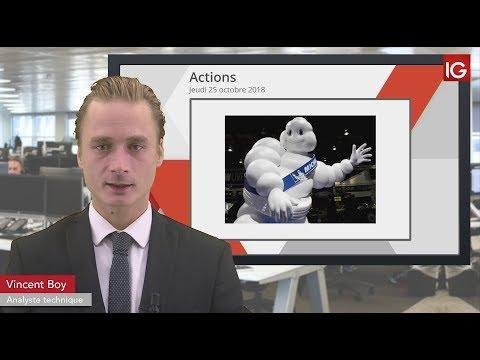 Bourse - Action Michelin, baisse du cours cible chez Credit Suisse - IG 25.10.2018