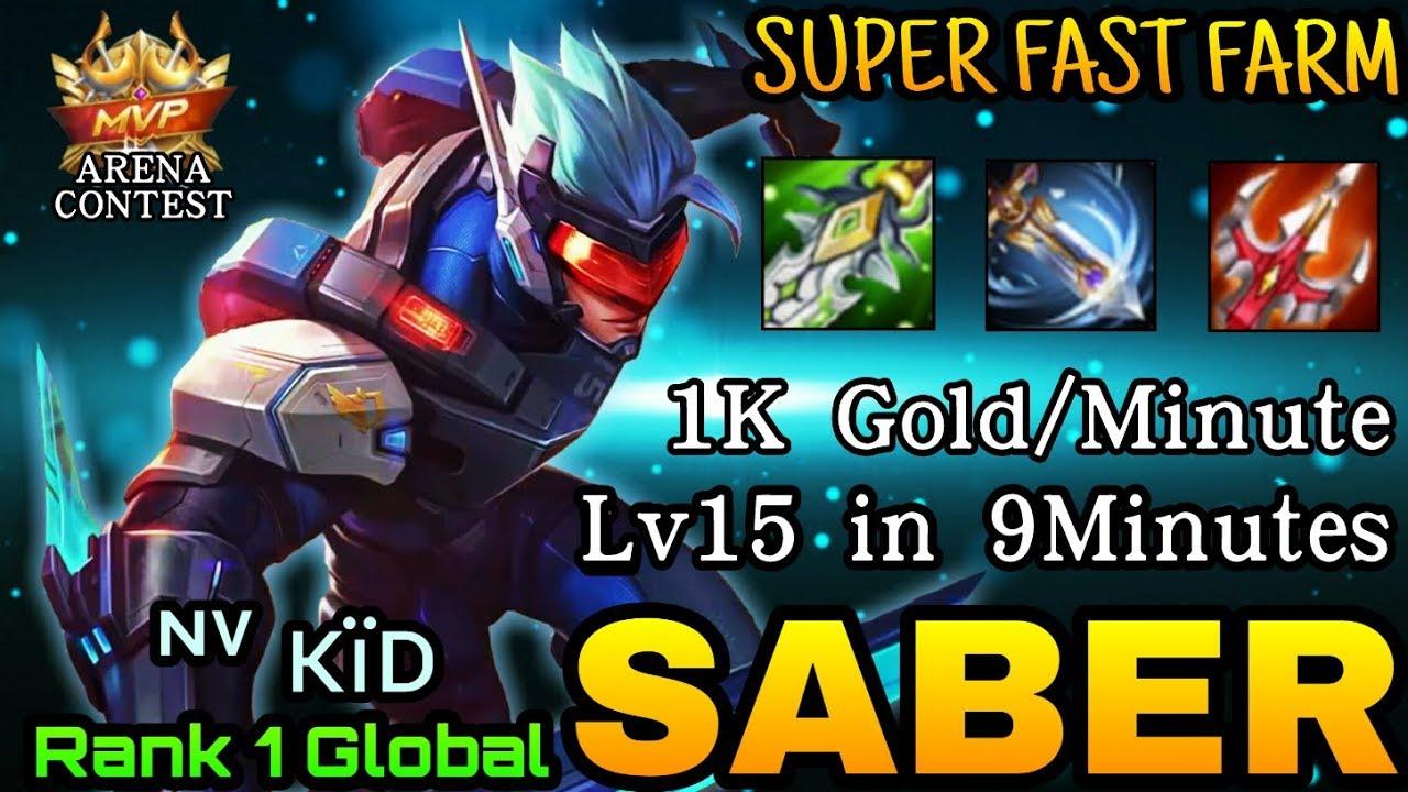 Saber Super Fast Farming - Top 1 Global Saber by ᶰᵛ ᴋïᴅ - Mobile Legends Arena Contest
