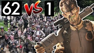 Pro Airsoft Player vs 62 Enemies