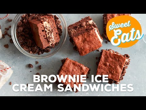 Mocha Brownie Ice Cream Sandwiches   Food Network