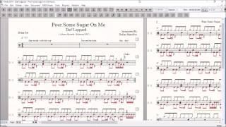 Video Drum Score World (Sample) - Def Leppard - Pour some sugar on me download MP3, 3GP, MP4, WEBM, AVI, FLV Mei 2018