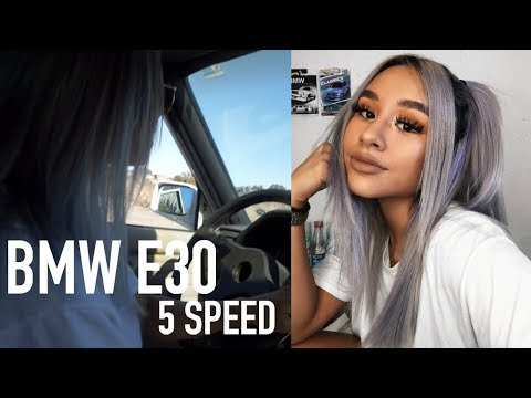 GIRLS FIRST TIME DRIVING STICK SHIFT ALONE // BMW E30