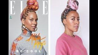 Alicia Keys inspired pink braids tutorial