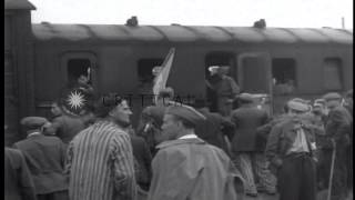 Jewish orphans leave Weimar, Germany by train after World War II, following their...HD Stock Footage