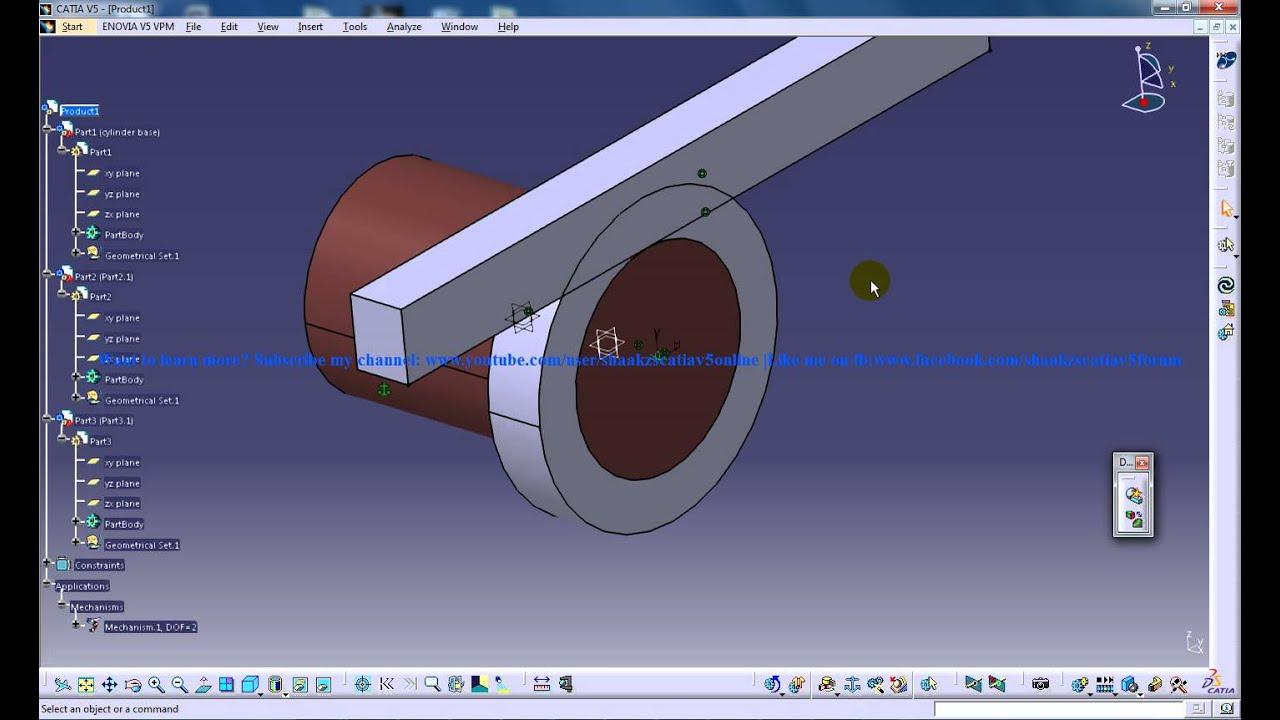 Catia V5 Tutorials Rack Pinion Mechanism Simulation P6 Digital Mockup Dmu Kinematics