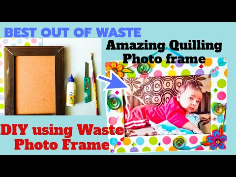 How to make Beautiful Quilling photo frame from old photo frame   Best out of waste   5 minute DIY