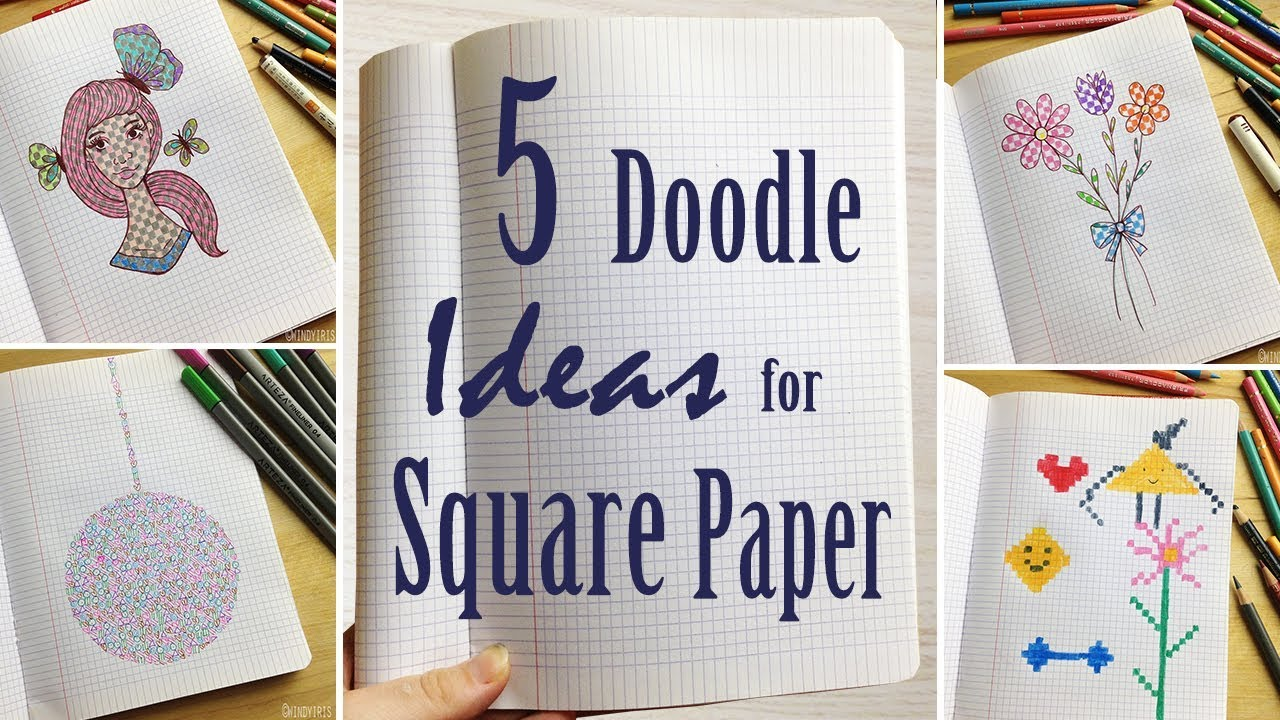 5 Doodle Ideas For Graph Square Paper Drawing In Notebooks