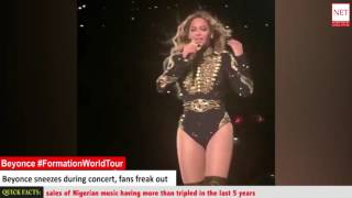 Beyonce sneezes on stage during concert, fans freak out