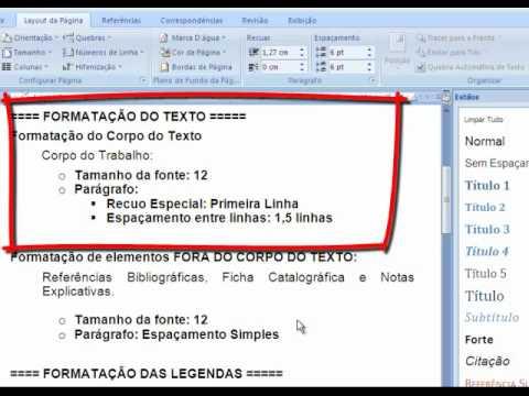 Formatando os Estilos do Word 2007 nas NORMAS TÉCNICAS DA ABNT - pt.1 de YouTube · Duração:  10 minutos