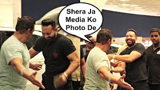 Salman Khan Funny Moment With Bodyguard Shera At Airport
