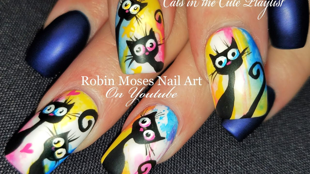 Amazing Kitty Cat Nails | Watercolor Nail Art Design Tutorial - YouTube