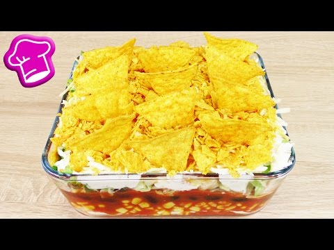 party-rezept---mexikanischer-schichtsalat-|-vegetarischer-nacho-salat-|-schnell,-einfach-&-lecker
