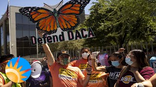 Arizona DACA recipients and allies celebrate in front of ICE office.